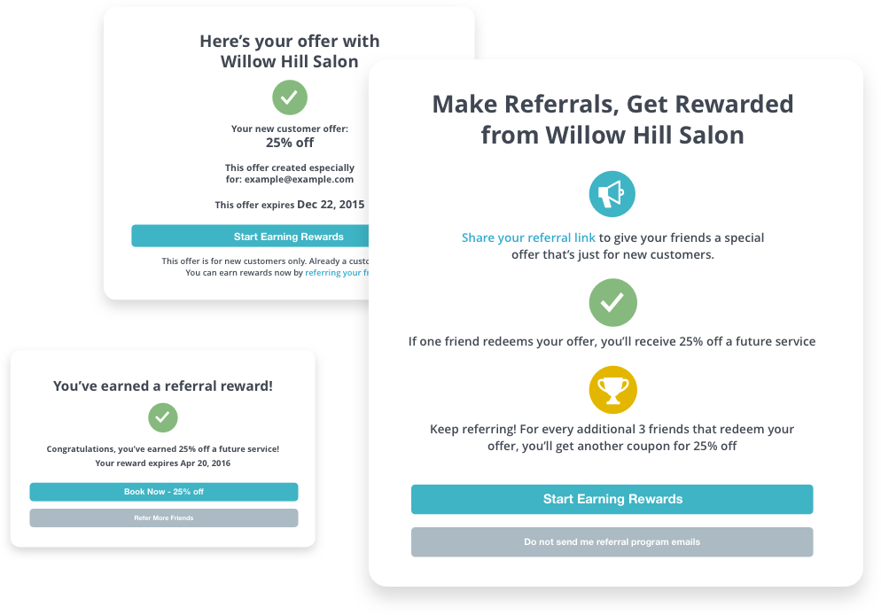 Sample referral and rewards offers